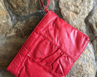 Vintage red clutch purse with wrist strap