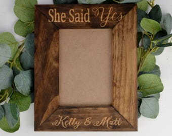 She Said Yes Frame, Personalized Engagement Picture Frame, Best Engagement Gift Ideas, She Sid Yes Gifts, Personalized Picture Frame