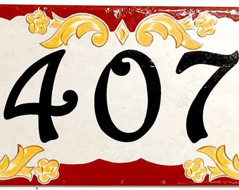 House number plaque, house numbers, address sign, italian ceramic house numbers, hand painted house plate.