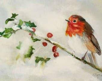 European Robin - small original watercolor painting