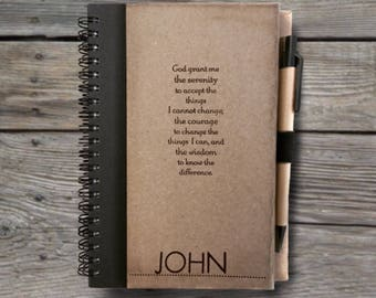 Serenity Prayer Journal Notebook With Pen. With/Without NAME. Addiction. Recovery. Gift. Sobriety. Rehab. AA Birthday. Easter Gift