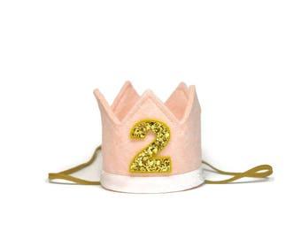2nd Birthday Crown || Girl Birthday Crown || First Birthday Crown || Birthday Crown Girl  || Baby Birthday Crown || Blush Birthday Crown