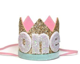 Birthday Hat ||  First Birthday Outfit Girl || First Birthday Cake Smash || Gold Birthday Crown || Glitter Birthday Crown || Smash Cake