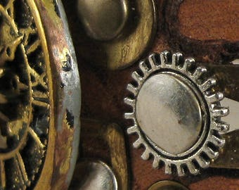 471 Steampunk Sundial Burning Man Boho Industrial Bracelet