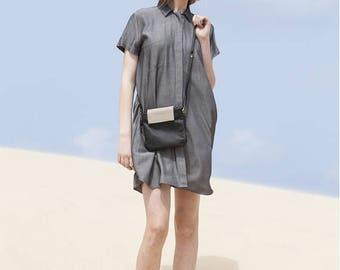 Sale, Black Leather Clutch, Handmade Crossbody Leather Bag, Small Convertible Leather Bag - Black Finchley