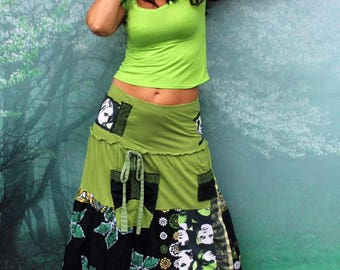 M Green fantasy patchwork pop art recycled long skirt