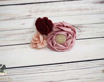 ON SALE Handcrafted Dusty Rose Burgundy Ivory and Blush Headband - Adult Headband - Vintage Lace Headpiece - Dusty Rose Bridesmaid Accessory