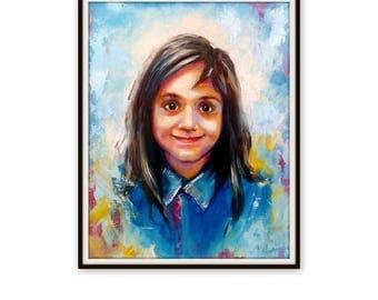 """Custom Portrait - Oil Canvas - Child Portrait Family Portrait Wedding Portrait - Pop Art Portrait Painting Palette Knife - 35"""" x 27"""""""