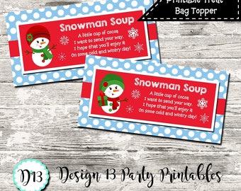 INSTANT DOWNLOAD Girl Snowman Soup Christmas Blue Treat Bag Topper Digital Printable