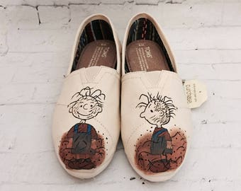 PigPen Toms (Charlie Brown Toms) Can be Made into Peanuts Vans. Peanuts Toms. Pig Pen Toms. Snoopy Shoes. Peanuts Shoes.