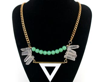 Jade and Crystal Quartz Necklace, Fashion Trend, Triangle Necklace, Edgy Necklace