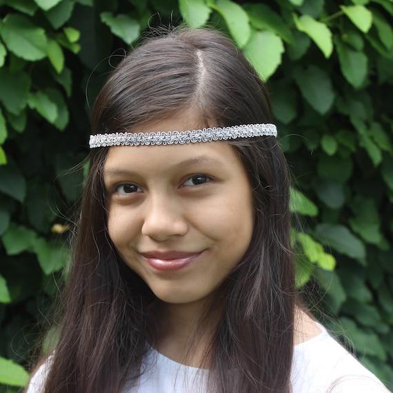 Bohemian Headband, Silver Headband, Silver Boho Headband, Silver Girl Headband, Forehead Headband, Halo Headband, Silver Headband