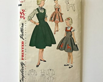 Vintage Pattern Simplicity 3674 Girl's Dress, Jumper and Blouse, Poodle Transfer Included, 1950'=s, Poodle Skirt, Sun Dress,  Curry Bungalow