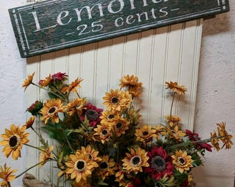 Lemonade 25 cents, Wood Sign, Hand Painted, Rustic, Vintage, Shabby Chic, Wood Sign