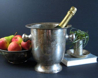 Vintage Champagne Ice Bucket - Silver Plate Urn with Handles - Footed Planter - Silver Barware - Large Wine Cooler - Holiday Party Decor