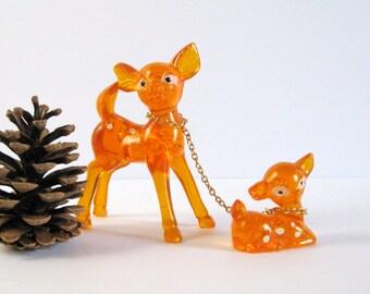 Doe and Fawn Vintage Deer Figurines - Clear Orange Plastic Woodland Animal Figurine Set - Made in Hong Kong 36VA Retro Kitsch Kawaii Decor