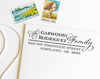 Return address stamp for families with different last names, self inking, script, rubber stamp wood handle