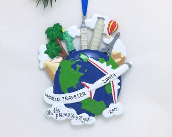 World Traveler Personalized Christmas Ornament / Airplane / Globe Ornament / Hand Personalized