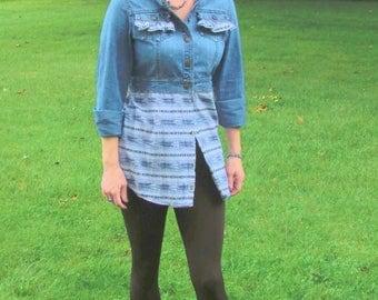 Jean jacket tunic upcycled refashioned western eco friendly