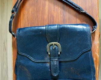 Dark blue faux leather handbag