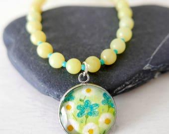 Lime Green Pendant Necklace, Spring Pendant, Daisy Pendant, Jade Jewellery, Floral Art Pendant, Art Jewelry, Turquoise Flowers, Daisy Art