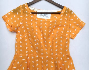 Yellow cotton Peplum Top UK size 6-8 with white Broderie Anglaise top with short sleeves handmade by The Emperor's Old Clothes