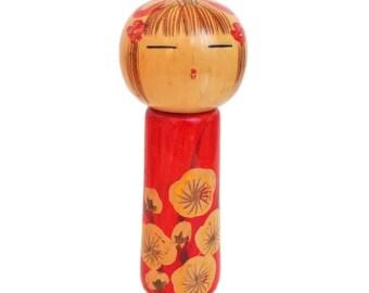Award-winning Kokeshi Doll with Peaceful Expression and Delicate Hand Painted Hair with Ribbon. Vintage  Japanese Kokeshi Doll. Kokeshi.