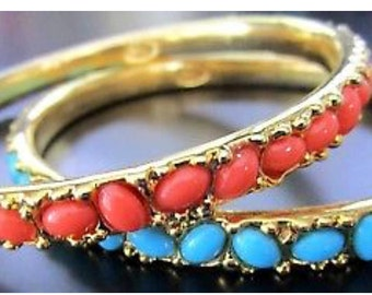KJL KENNETH J LANE Turquoise & Coral Orange Bangle Bracelet Set