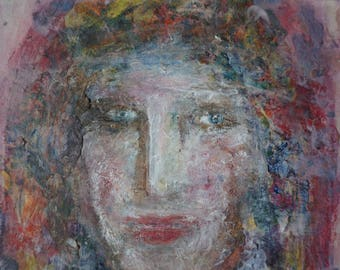 painting portrait woman signed listed artist Carstens Drouot woman painting canvas