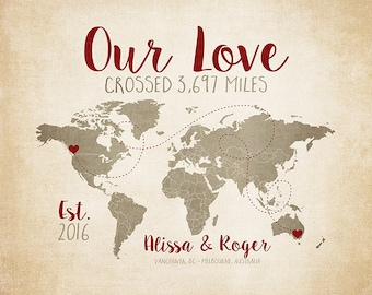 Our Love Crossed, Personalized Travel Map, World Map Art, Custom Home Decor Gift, Anniversary Gift Long Distance Couple, Red Brown | WF431