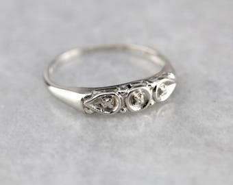 White Gold Forget-Me- Not Band, Vintage Wedding Band EWANQX-D