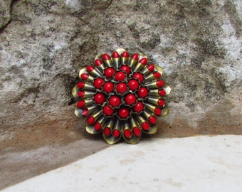 Vintage Czech Brooch, Red Cabochons, Art Deco, 1920-1930's, Unused Old Shop Stock