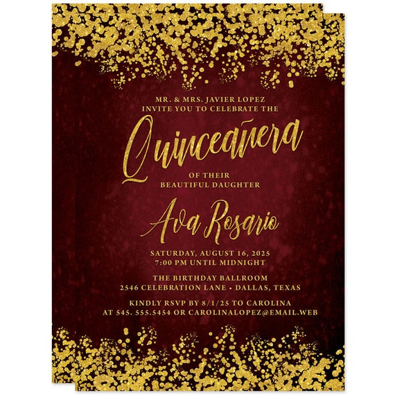 Quinceaera Invitations Deep Red Gold Printed Quinceaera