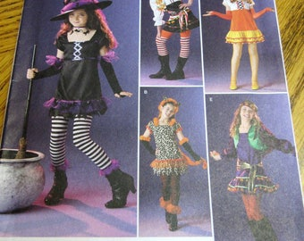 Girls Halloween Costume Pattern, DIY, Simplicity Pattern 2509, Size 7-14, Witch, Pirate, Hippie, Chiquita, Spirit, Dress Up, Cosplay, UNCUT