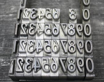 Your Choice Pick Your Numbers / Vintage Metal Letterpress Numbers