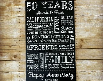 50th Anniversary Gift for Parents, 50 Year Anniversary, Signs with Quotes, Golden Anniversary