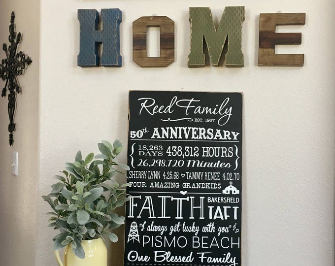 50th Anniversary - Gift for Parents - Love Story Sign - 50 Years - Anniversary Gift - Milestone Anniversary