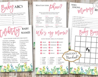INSTANT DOWNLOAD - Cactus Southwest BABY Games Package - Boho Floral Printable Baby Shower Games - Boho Southwest Game Pack - Bohemian 0551