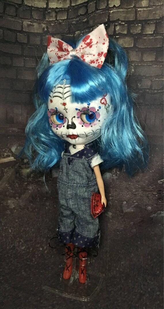 Sugar Skull Blythe Style Day Of The Dead Color Changing Eyes Dia De Los Muertos Undead Rockabilly Zombie Biohazard Baby