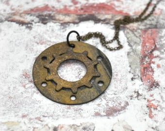 Layered Gears Pendant Necklace in Black and Gold, OOAK Unique Handmade Steampunk Jewelry Unisex Jewelry Gift for her Gift for him