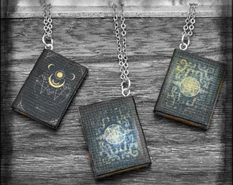 Tiny Book Pendant Necklace Tiny Grimoire OOAK Handmade Miniature Spell Book Jewelry Witch Wiccan Dark Arts Book Lover Gift Bookworm for her