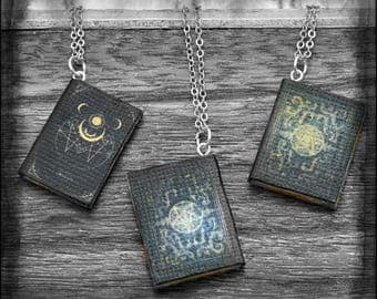 Tiny Grimoire Book Pendant Necklace OOAK Handmade Miniature Spell Book Jewelry Witch Wiccan Dark Arts Book Lover Gift Bookworm for her
