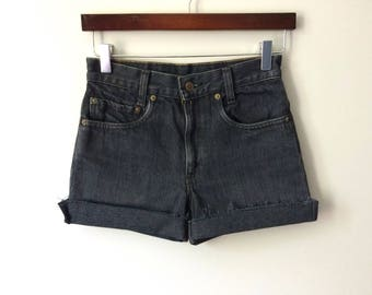 Levi's High Waisted Shorts Black Vintage Levis Cut Off Shorts Levi High Waist Denim Cutoffs Distressed Zip Fly Jean Shorts 0 2 XS X-Small