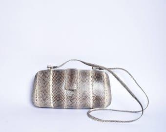 Vintage 1990's Mini Brown Snakeskin Shoulder Bag Purse