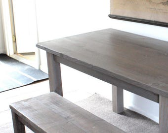 Small Rustic Wood Gray Dining Table
