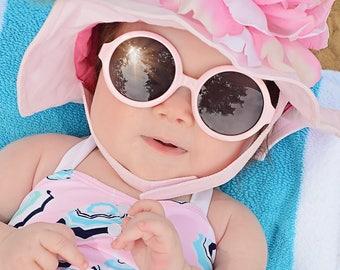 Pale Pink Peony Sun Hat- Baby Girl Sun Hat - Baby Floppy Hat - Sun Hat - Baby - Flower Hat - Newborn Sun Hat - Infant Sun Hat - Newborn