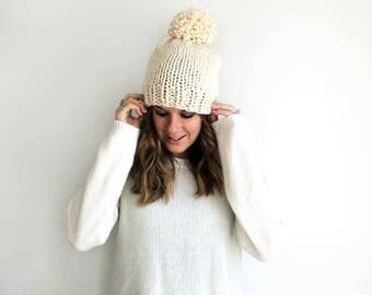 Pom Hat Knit, Knitted Hat, Slouchy Beanie Fisherman- Pokomoke Hat