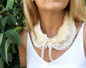 Peter Pan Collar, bib statement, Cluster jewelry, wedding necklace, bridal necklace