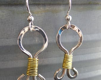 Sterling silver hammered hoop earrings with gold fill wire wrap detail