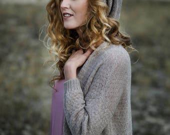 Slouchy hat knit in pure baby alpaca wool woman knit hat wool beanie gray knit cap black white brown pink orange knit baggy hat alpaca hat